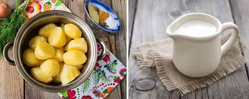Вареный картофель и сливки